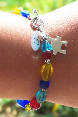Beaded Autism Awareness Bracelet